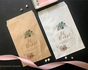 personalized succulent baby shower favor bags, oh baby pink floral gold geometric baby shower goody bags, baby shower treat bags, SLBSFB2