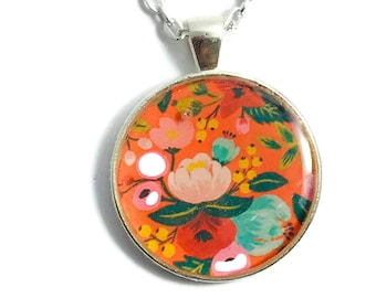 ORANGE FLOWER Necklace,  Flowers Jewelry, Flowers Pendant, Floral Handmade Necklace, Vintage Necklace Jewelery, Orange Flower #H410