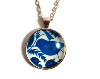 BLUE BIRD PENDANT Necklace, Free Shipping, Wing Pendant Necklace, Birds, Jewelry, Folk, Nature, Blue, Navy,  Blue Sweet Bird #H434