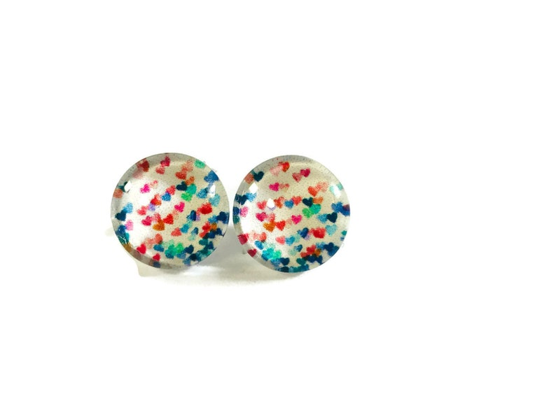 HEART EARRINGS, Colourful Stud Earrings, Silver Drop Earrings, Lever back,  Large Studs, Gift For Her, Flutter Hearts #279
