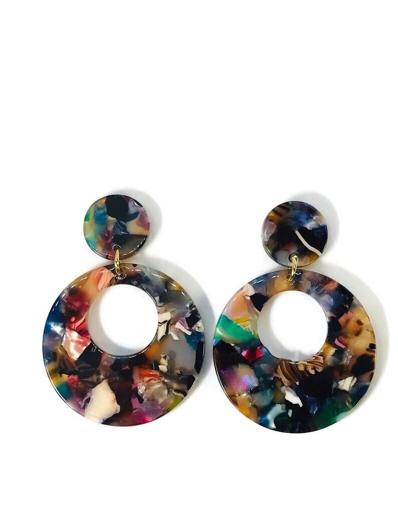35ba652bb6bd5c BRIGHT TORTOISE SHELL Drop Earrings Dangle Earrings Party   Etsy