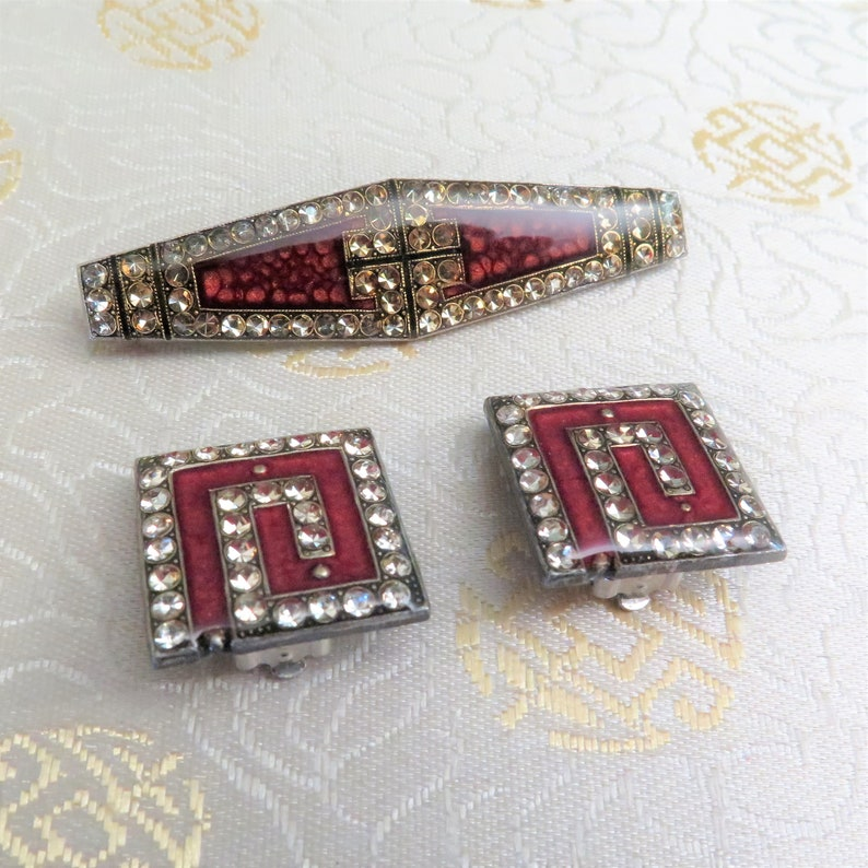 Crystal Rhinestones Brooch to Match Available Red Wine Maroon Vintage Pierre Bex Earrings Art Deco Style Clip On Earrings French Gift