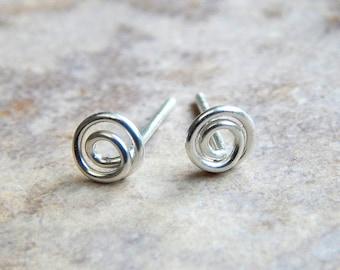 Tiny Sterling Silver Earrings, Tiny Sterling Silver Circle Stud Earrings, Tiny Stud Earrings, Dainty Earrings, Earrings, Gift For Her