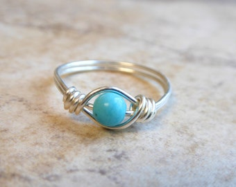 Dainty Turquoise Ring, Turquoise Ring Sterling Silver, December Birthstone, Boho Ring, Real Turquoise Gemstone Ring, Birthday Gift