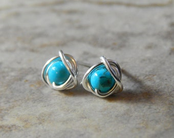 Tiny Stud Earrings, Tiny Turquoise Earrings, Turquoise Jewellery, December Birthstone, Girlfriend Gift, Minimalist Jewelry, Gifts For Her