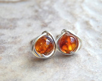 Amber jewelry etsy amber stud earrings mothers day gift genuine amber earrings in sterling silver 14k gold filled amber jewellery gifts birthday gift aloadofball Images