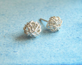 Silver Stud Earrings Sterling Silver Studs Love Knot Earrings Silver Earrings Birthday Gift Minimalist Jewellery Unique Bridesmaids Gifts