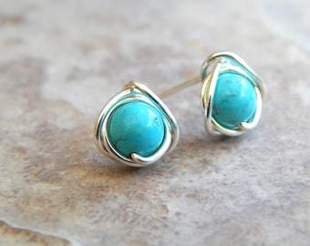 Turquoise Stud Earrings, Turquoise Earrings, Turquoise Earrings Gold, Gifts for Her, Turquoise Jewelery, Boho Earrings, Boho Jewellery