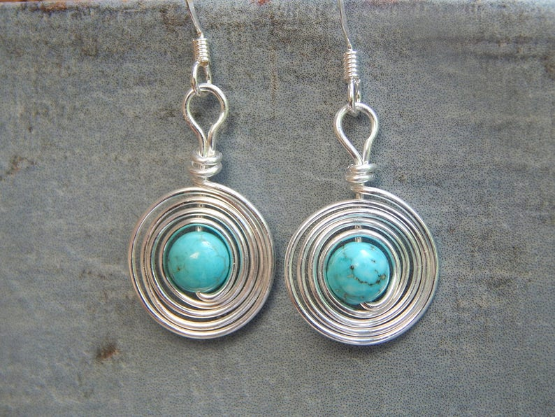 ab1c4504c Turquoise Earrings Sterling Silver Dangle Earrings Turquoise | Etsy