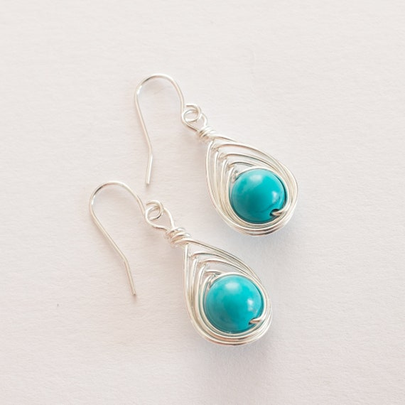 7d40551cd Turquoise Dangle Earrings Turquoise Earrings Drop Earrings | Etsy