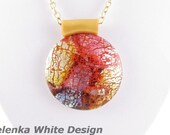 Round Polymer Clay Pendant in Faux Dichroic Style. Red and Yellow. Handcrafted Artisan Jewellery. SRAJD