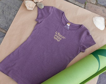 Whoever Smiles Wins Womens Short Sleeve Purple