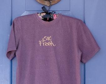 "Unisex ""Eat Fresh"" Organic Purple T-Shirt, Short Sleeve, Ethically Sourced Organic Cotton & Hemp"