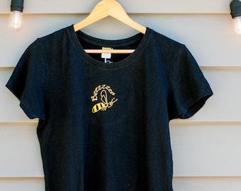 Bumble Bee Women's Black Organic Cotton & Hemp T-Shirt, Short Sleeve tee shirt, Gift for pollinators and beekeepers, Bumblebee, Buzz, bzz