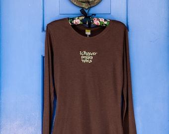 Women's Brown Long Sleeve Organic T-Shirt, Organic Cotton and Bamboo