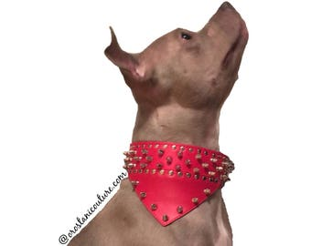 Bandana Spiked Studded Leather Pet Dog Collar For Pitbull Boxer Mastiff