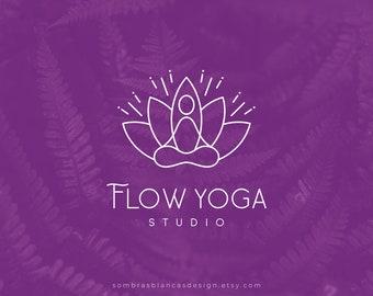 Premade Logo Design for Yoga Teachers, Padmasana Logo, Vector Files, Illustrated Yoga Studio Logo, Namaste Modern Logo for Small Business