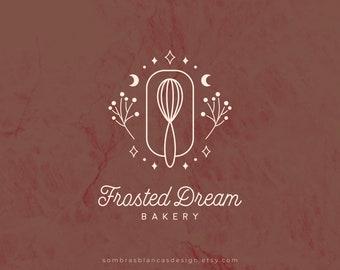 Premade Logo Design for Bakery, Hand Whisker Premade Logo Design, Vector Files, Illustrated Logo Watermark, Baking Logo for Small Business