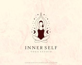 Premade Logo Design for Yoga Teachers, Female Yogi Logo, Vector Files, Illustrated Yoga Studio Logo, Namaste Modern Logo for Small Business
