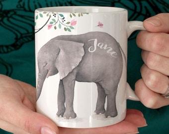 Elephant, Mug, Custom Mug, Personalized Mug, Coffee Mug, Elephant Mug, Tea Cup, Cup, Funny Mug, Floral Mug, Grandma Gift, Baby Elephant