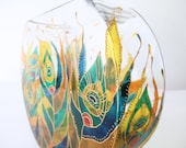 PEACOCK FEATHER - Hand Painted Glass Vase, Peacock Feather Design, Home Decoration, Stained Glass Technique, Blue Green Gold Yellow Orange