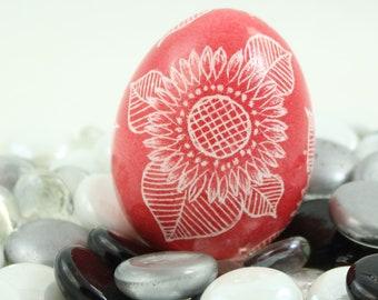 Pysanky, Pisanki, Ukrainian Egg, Polish Easter Egg, Skrobanki, Easter Egg, Ukrainian Easter Egg, Scratched Egg, Pysanky Egg, Sunflower, Red