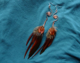 Copper Spiral Feather Earrings