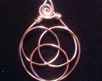 Wire Wrap Copper Celtic Knot Triple Goddess Pendant