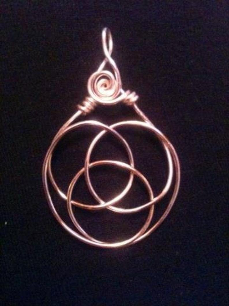 Wire Wrap Copper Celtic Knot Triple Goddess Pendant image 1