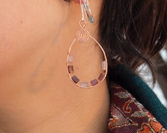 Delicate Spiral Copper Teardrop Earrings with Multicolored Glass Beads