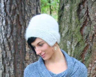 Angora Hand Knit Women's Hat Natural Light Gray Humanely Harvested
