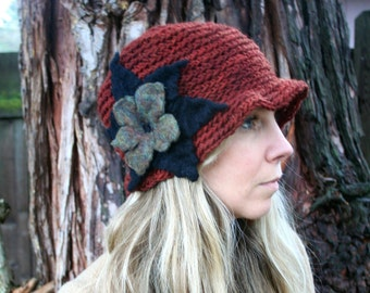 Crochet Cloche Hat, Big Felted Flower-All  Wool- Brick Red and Black