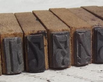 Antique vintage Français impression blocs numéros bois tampons en caoutchouc