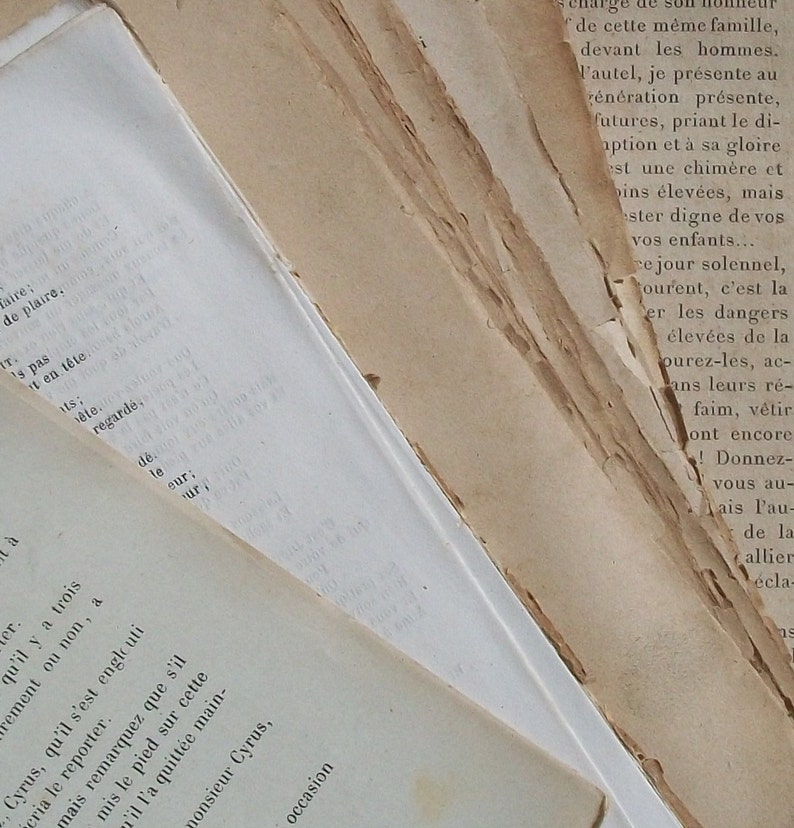 Bundle of Antique French Book Pages French Classic Authors sepia aged  sheets 1800s- 1930s