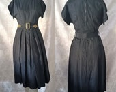 1960s Vintage Black Satin Swirl Brocade Cocktail Dress with Box Pleats Original Belt