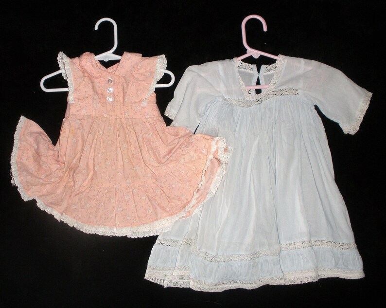 Vintage Baby Girls Dresses 2 Pink Blue Victorian