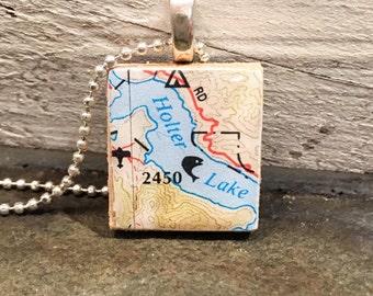 Scrabble Tile Pendant - Montana series - map of Holter Lake