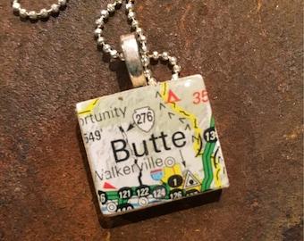 Scrabble Tile Pendant - Montana series - Butte