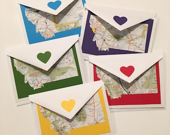 Montana greeting cards, set of 5 blank cards with envelopes, colored background with vintage map cutout