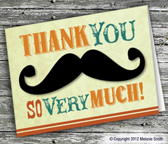 Printable Mustache Thank You Card Etsy
