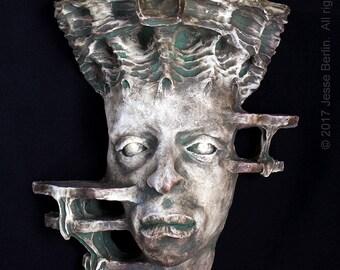 Gaia Greek Earth Goddess/Titan surreal fantasy ceramic wall sconce