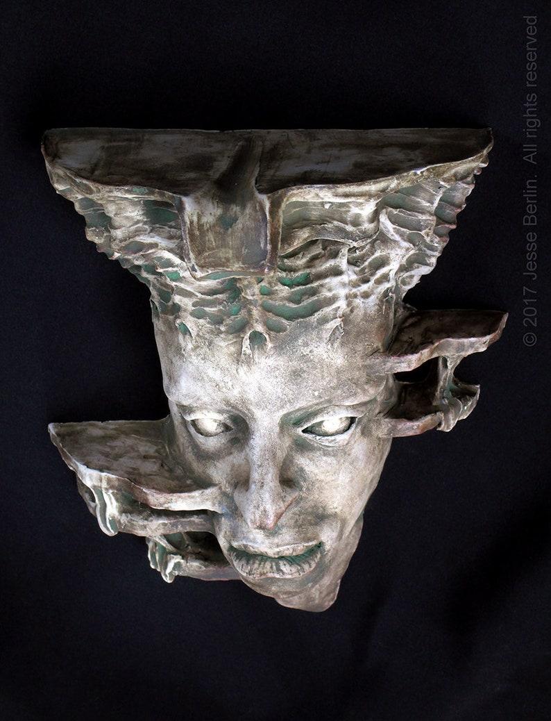 Gaia Greek Earth GoddessTitan surreal fantasy ceramic wall sconce