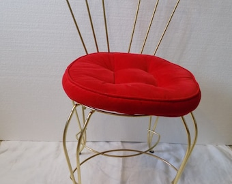 Reproduction Chairs Rapture Pouffe Footrest Stool Leaf Gold Wood And Velvet