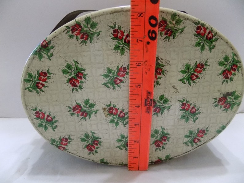 Old Oval Tin with Handles Rose Sprays  Trinkets Sewing Box