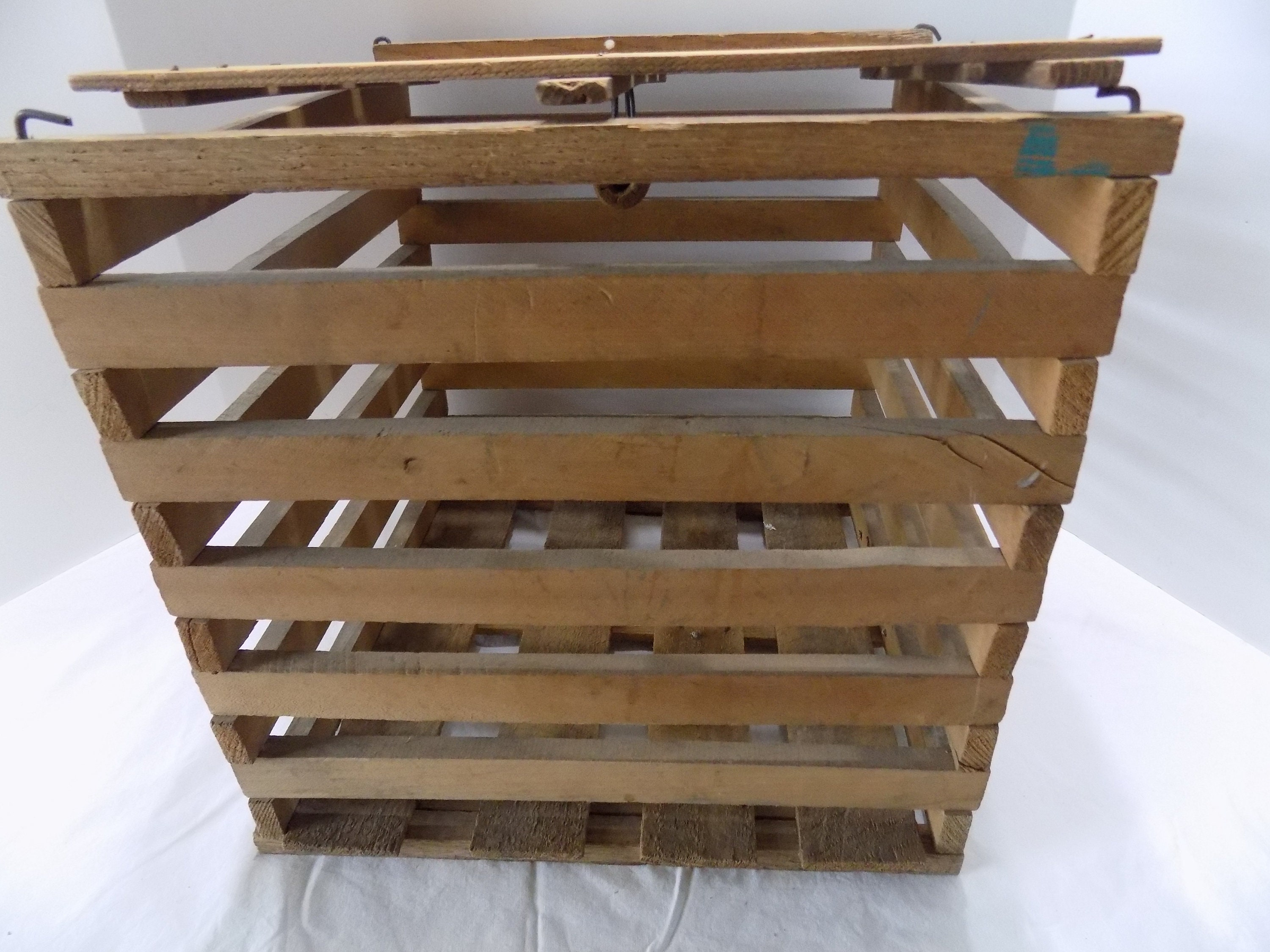 Old Wood Slat Egg Crate With Lid Etsy