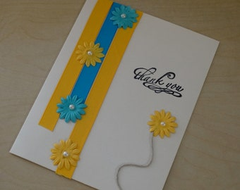 Handmade thank you card-greeting card, mother's day card, friendship card, flower card, blue and yellow flowers