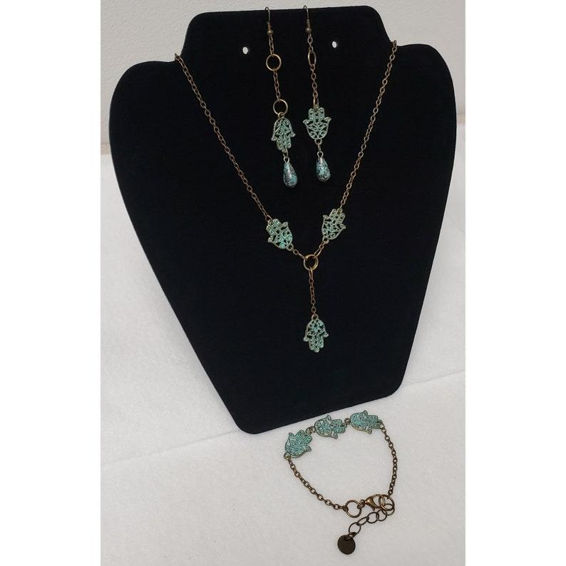 Patina jewelry for women Amulet necklace Jewelry gifts 3 piece set Spiritual jewelry Hamsa Hand Jewelry Set Jewelry set for women