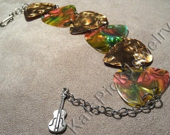 Bronze and Rainbow Abalone Pearl Genuine Guitar Pick Bracelet With Guitar Charm