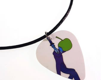 The Beatles Yellow Submarine/Guy in Blue Suit w/ Apple Album Cover Art Genuine Guitar Pick Necklace