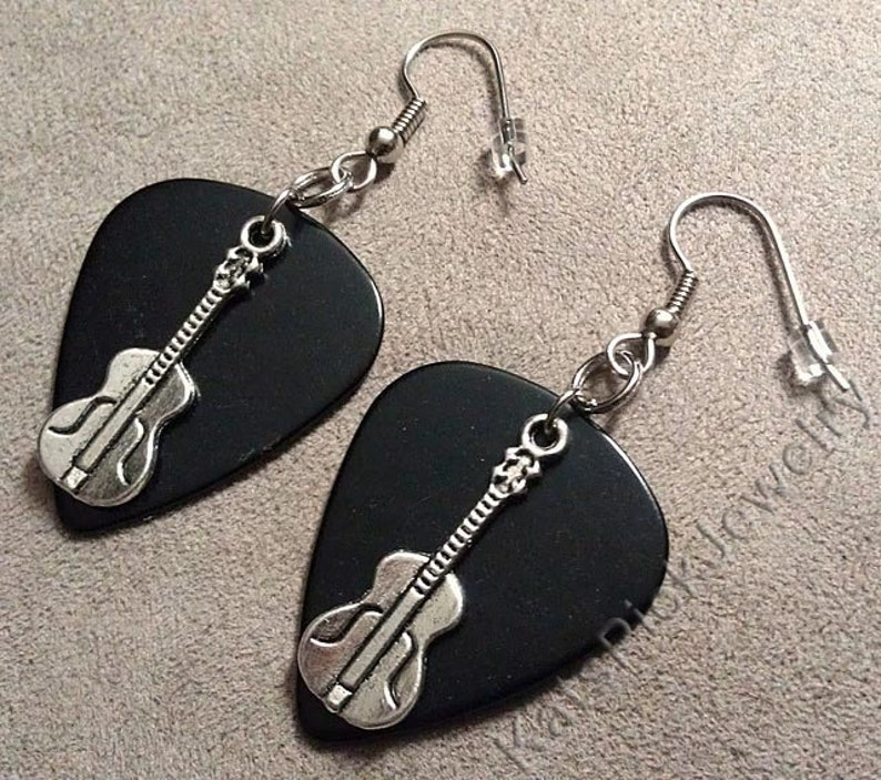 Guitar Charms on Black Genuine Guitar Pick Earrings image 0